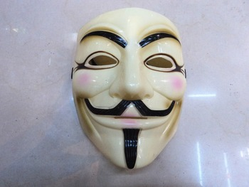 V vendetta team guy fawkes masquerade Halloween carnival Mask(adult size),40g,light yellow,1pc/lot CPAM